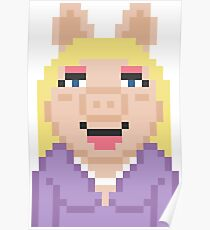 Miss Piggy The Muppets Pixel Character Poster