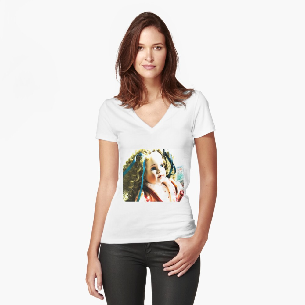 doll beauty Women's Fitted V-Neck T-Shirt Front