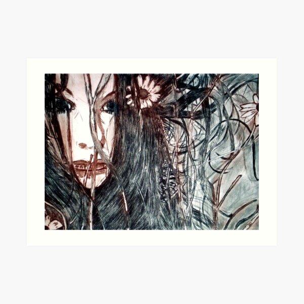 Wild Girl - Drypoint Etching Print Art Print