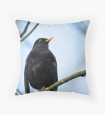 Blackbird on the Branch Throw Pillow