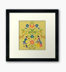 Swedish Gardeners in Folk Art Style with Mustard Background Framed Print