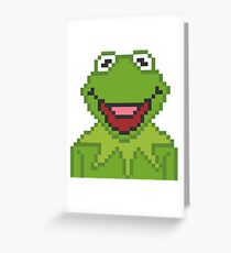 Kermit The Muppets Pixel Character Greeting Card
