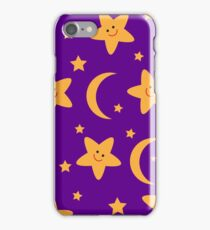 Cartoon pattern with night stars and moon iPhone Case/Skin