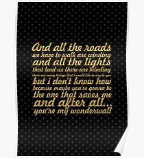 "Oasis... ""Wonderwall"" Song Lyric Poster"