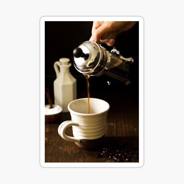 Pouring Coffee from French Press Sticker