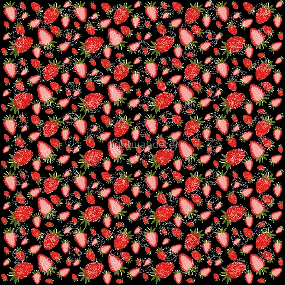 Cute strawberry and geometric heart pattern on black  by lightwanderer