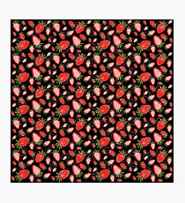 Cute strawberry and geometric heart pattern on black  Photographic Print