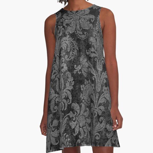 Black and Grey Damask A-Line Dress