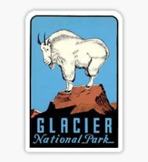 Glacier National Park Montana Vintage Decal - Mountain Goat Sticker