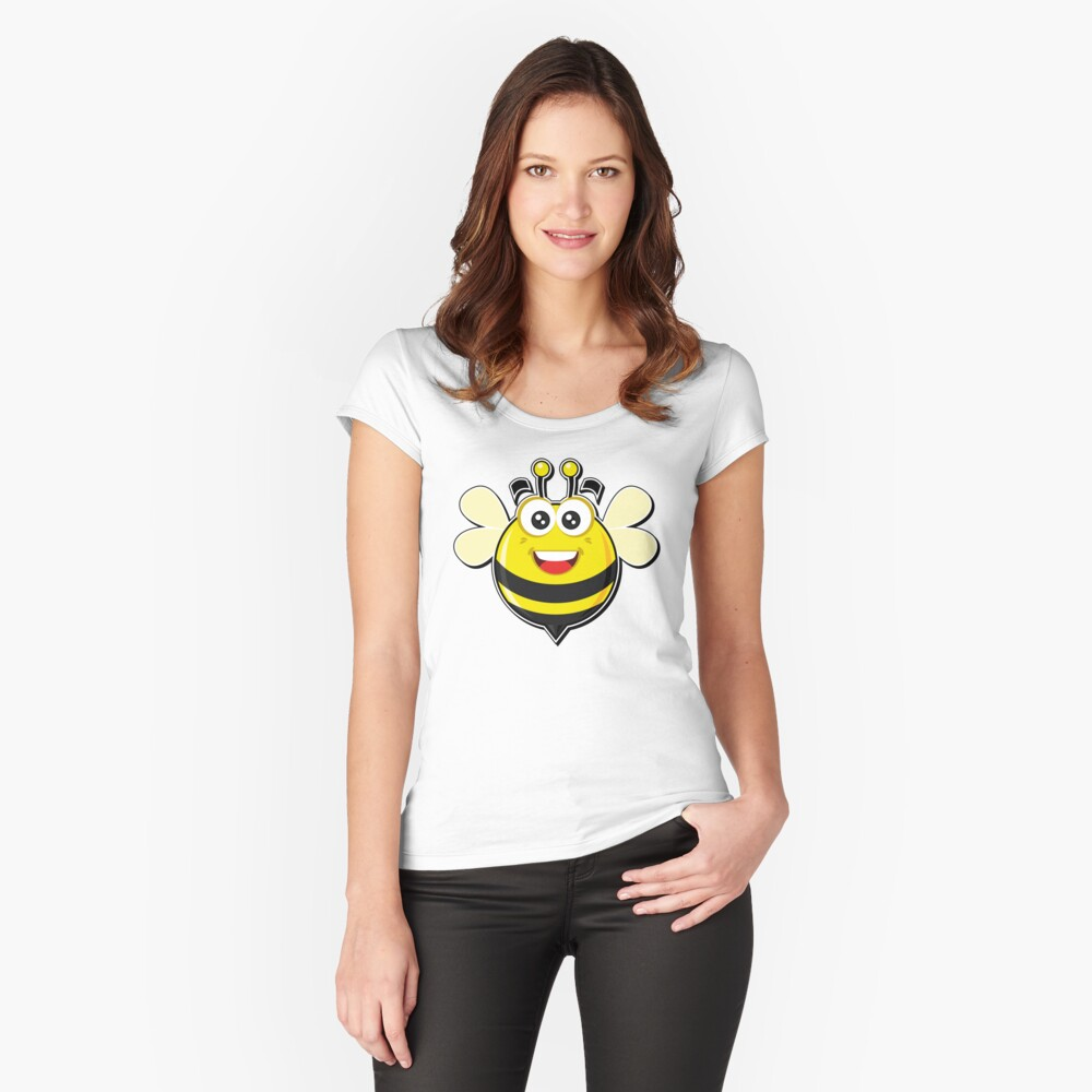 Funny bee Women's Fitted Scoop T-Shirt Front