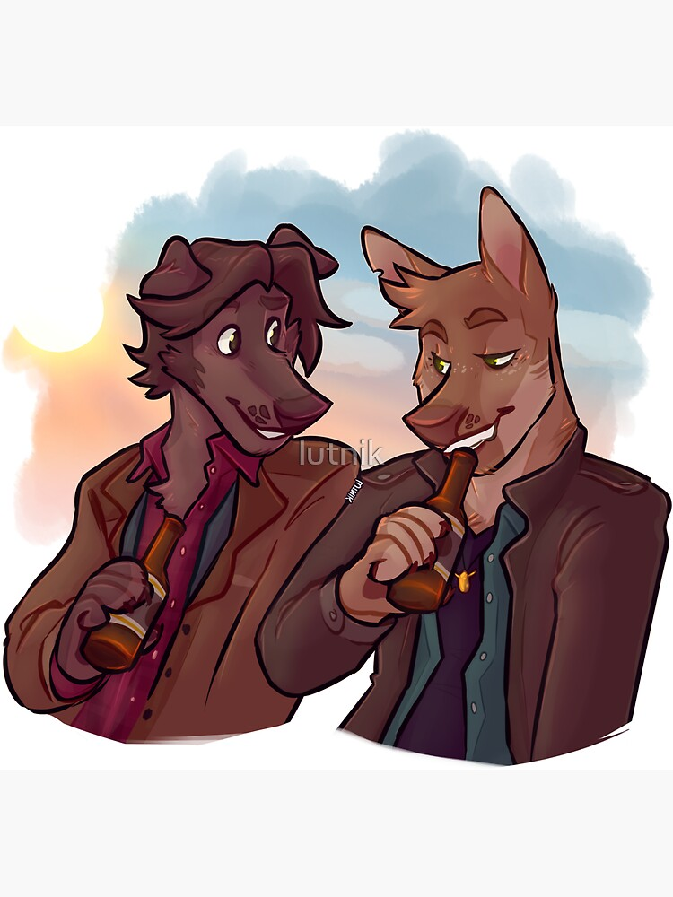 Supernatural Sam and Dean Winchester inspired Furry Dogs by lutnik