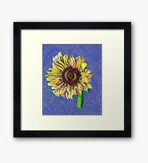 Yellow Sunflower on Blue- Oil Pastel Art - Floral Art Framed Print