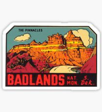 Badlands National Park -The Pinnacles- Vintage Travel Decal Sticker
