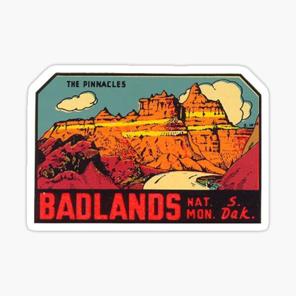 Parque Nacional Badlands - The Pinnacles- Vintage Travel Decal Pegatina