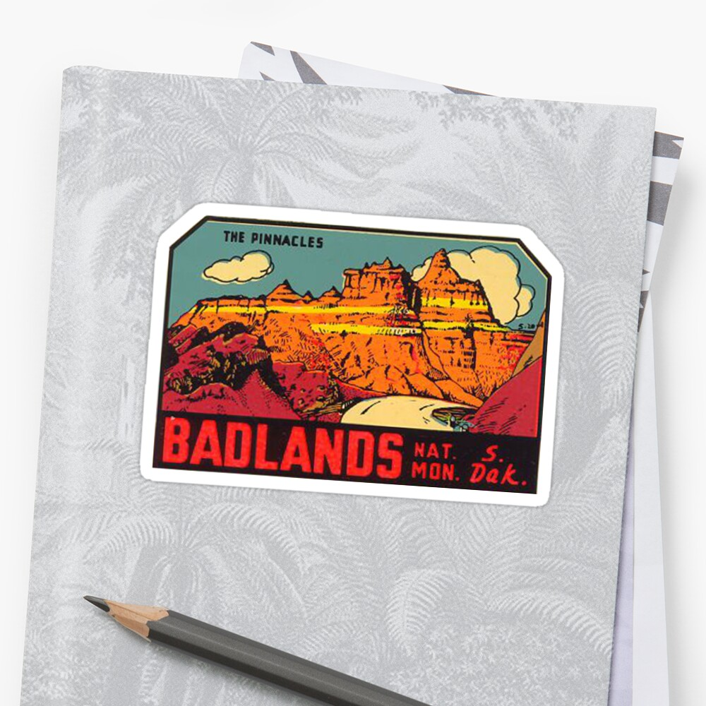 Badlands National Park -The Pinnacles- Vintage Travel Decal by MeLikeyTees