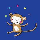 Monkey Juggling - on blue - cute monkey by Cecca Designs by Cecca-Designs