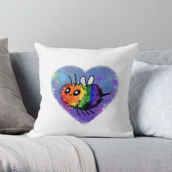 Rainbow Bee Throw Pillow