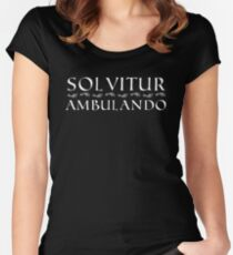 Solvitur Ambulando with footprints (white text) Women's Fitted Scoop T-Shirt