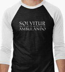 Solvitur Ambulando with footprints (white text) Baseball ¾ Sleeve T-Shirt