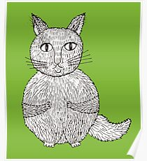 cat cartoon graphic Poster
