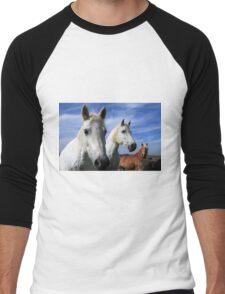 White Camargue Horses Men's Baseball ¾ T-Shirt