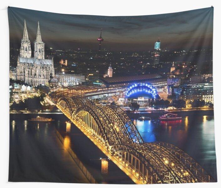 Cologne Night Skyline by prodesigner2