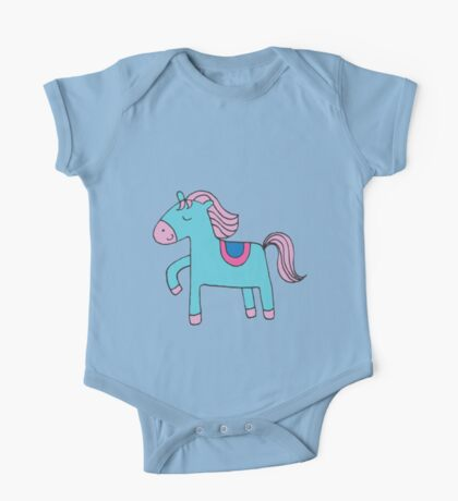 Happy pony - sky blue and pink on sea foam - Cute pony by Cecca Designs Kids Clothes