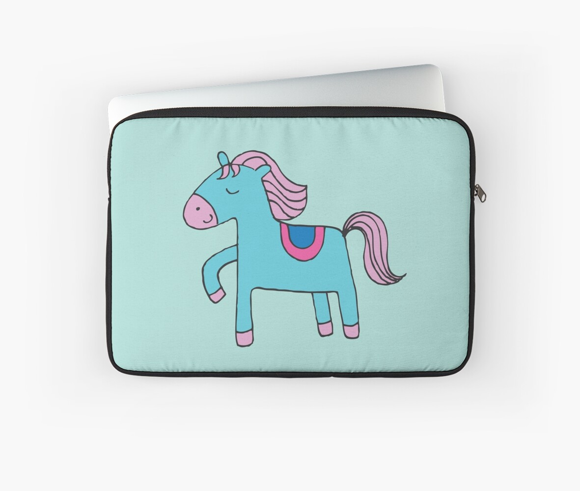 Happy pony - sky blue and pink on sea foam - Cute pony by Cecca Designs by Cecca-Designs