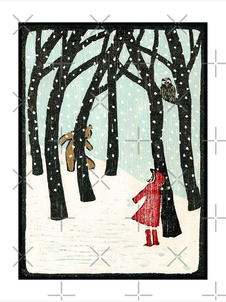 Hello Bear - Original woodcut by Francesca Whetnall by Cecca-Designs
