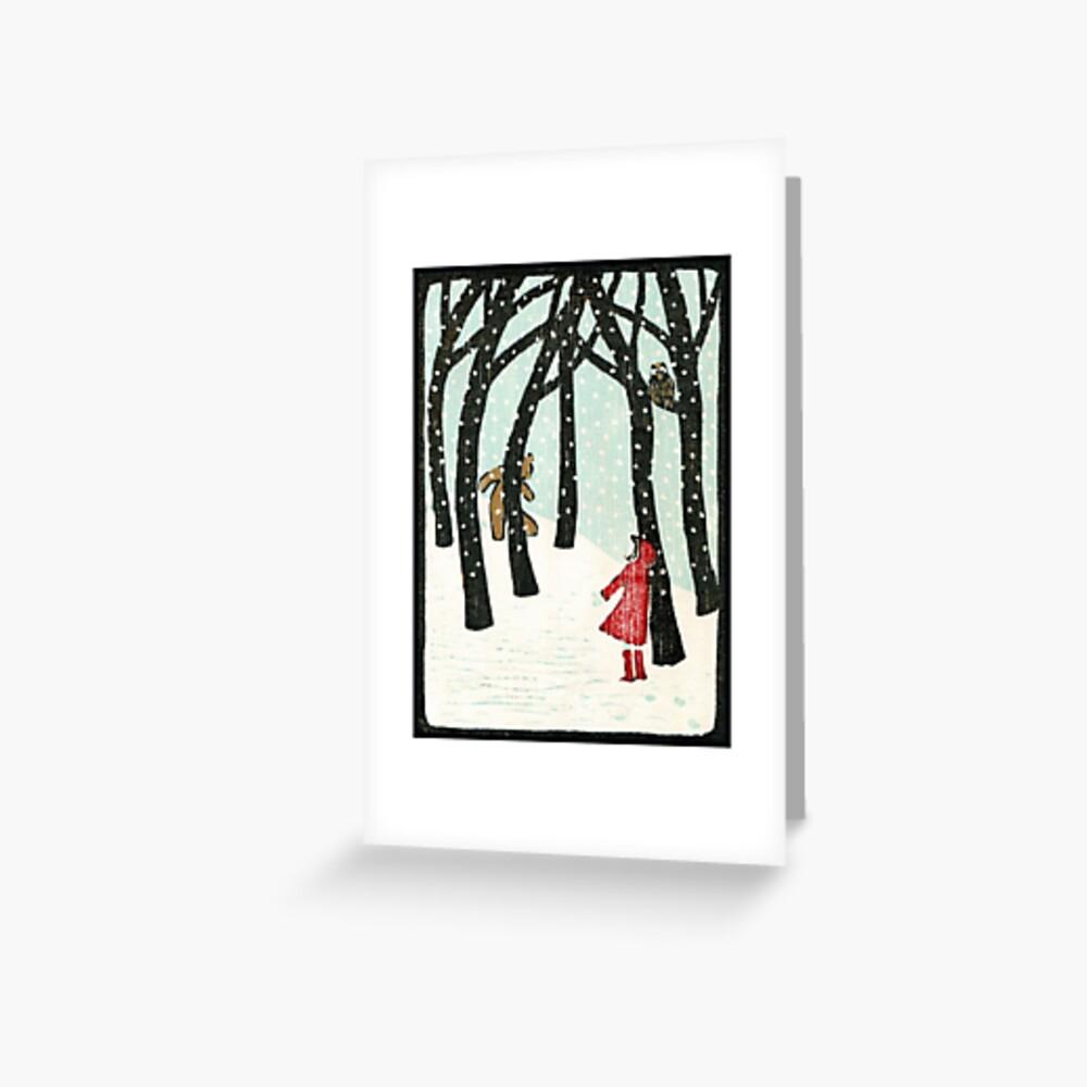 Hello Bear - Original woodcut by Francesca Whetnall Greeting Card