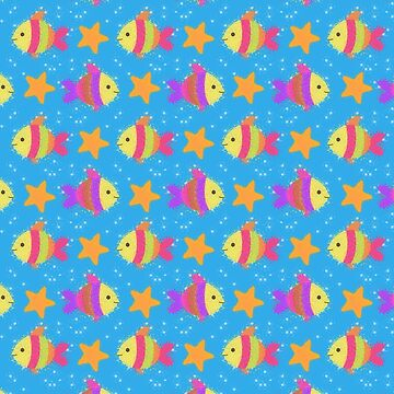 Cute Fish And Starfish Pattern by Almdrs