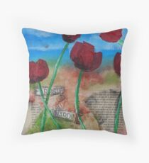 peinture illustration tulipe rouge Throw Pillow