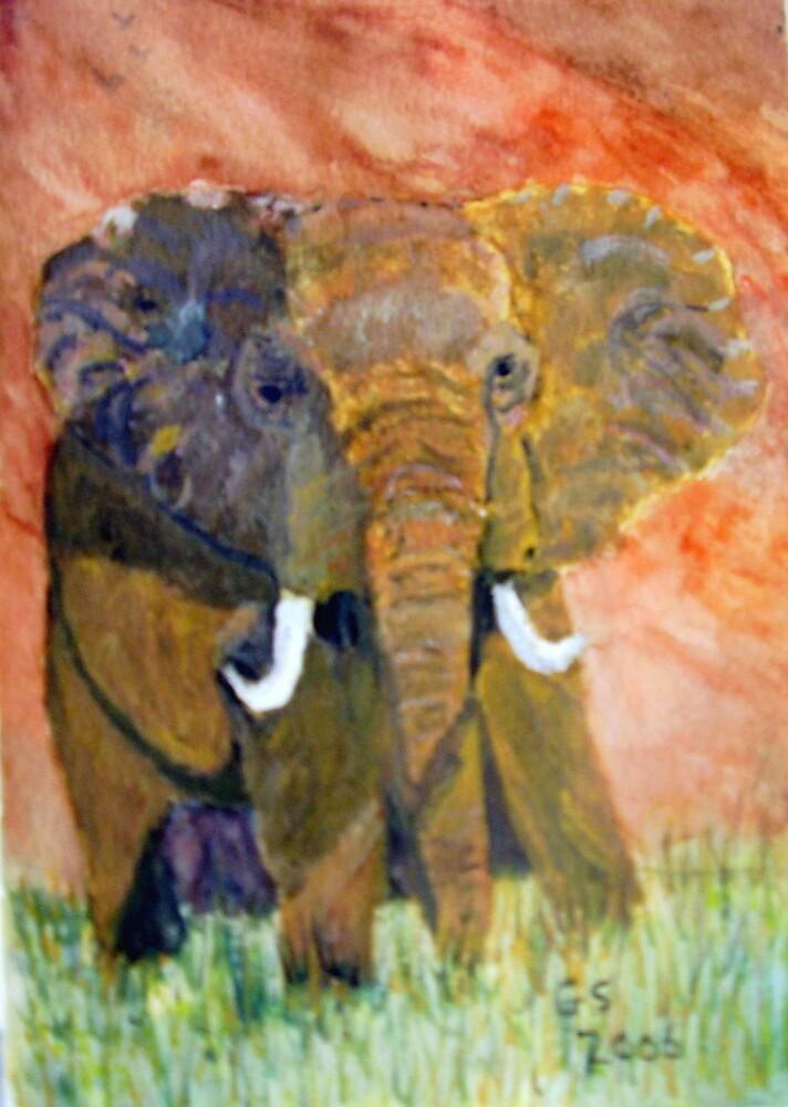 ELEPHANT CHARGING by GEORGE SANDERSON