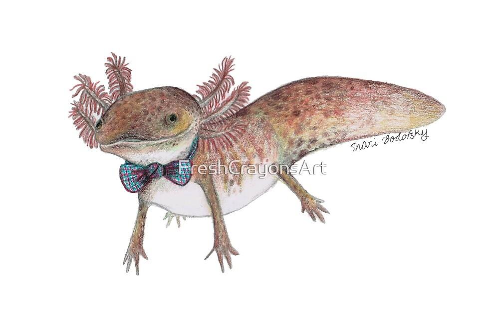 Gilbert the Axolotl in Bow tie  by FreshCrayonsArt