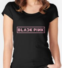 Blackpink Logo- Pink Women's Fitted Scoop T-Shirt