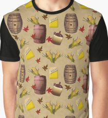 Fall Vintage Look Whiskey Making Pattern Graphic T-Shirt