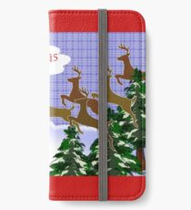 Merry Christmas from All of Us, Leaping Deer iPhone Wallet