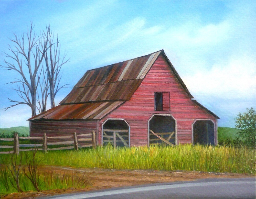 Red Barn in Forsyth County, Georgia  by Vivian Eagleson