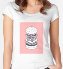 Burger Isometric Lineart Deconstructed - Salmon Women's Fitted Scoop T-Shirt