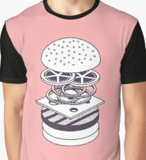 Burger Isometric Lineart Deconstructed - Salmon Graphic T-Shirt