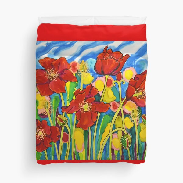 Red Poppies #1 Belize Duvet Cover