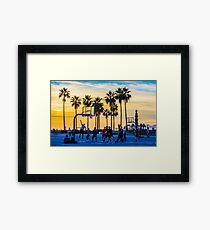 Sunset basketball on Venice Beach, California, USA. Framed Print