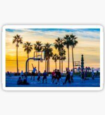 Sunset basketball on Venice Beach, California, USA. Sticker