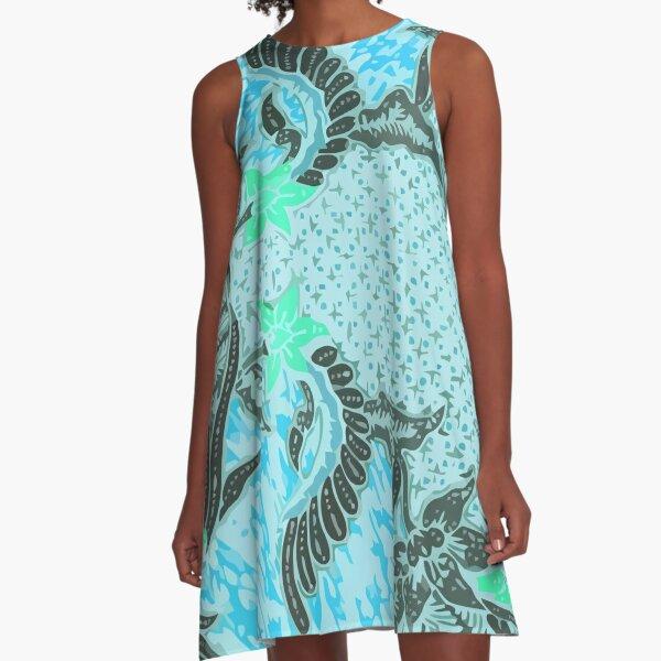 Bali Batik turquoise A-Line Dress