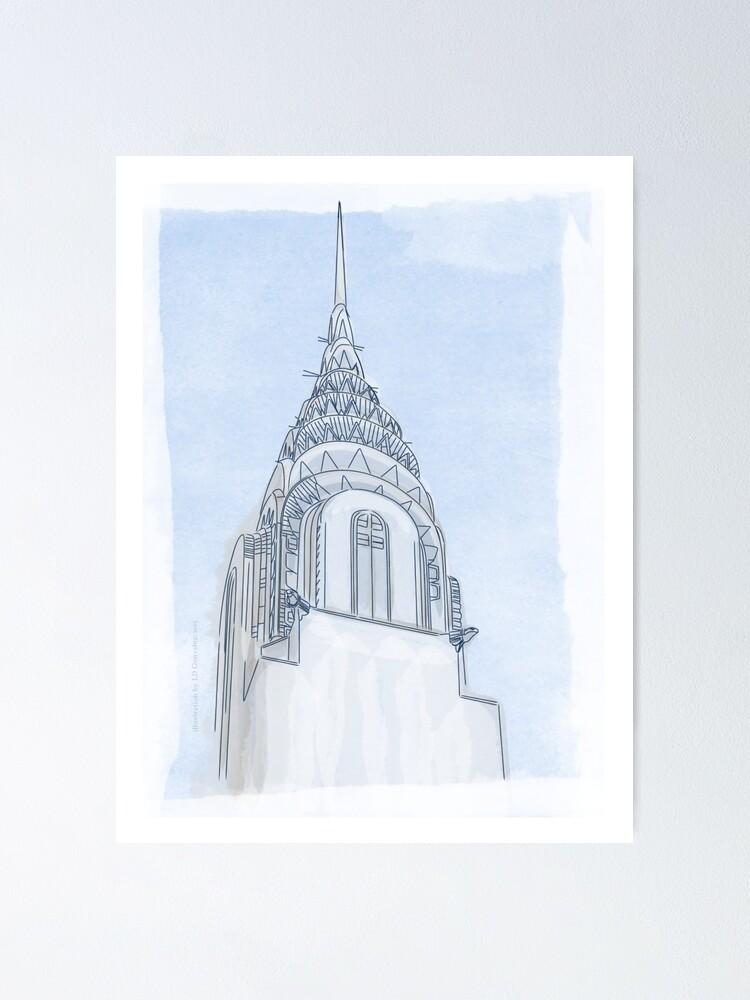 Alternate view of Chrysler Building Digital Illustration Poster