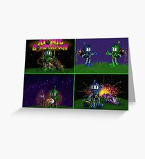 Atomic Bomberman Retro Graphic Grid Greeting Card