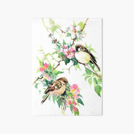 Sparrows adn Apple Blossom Art Board Print
