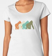 Gorilla Monkey Retro I Love Animal Fun T-Shirt Women's Premium T-Shirt