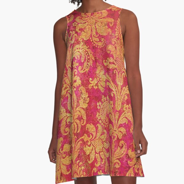 Red and Gold Damask A-Line Dress