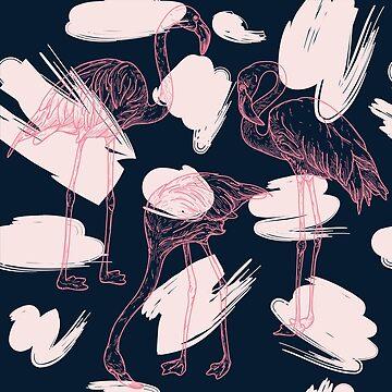 Retro Flamingo Pattern by samposnick